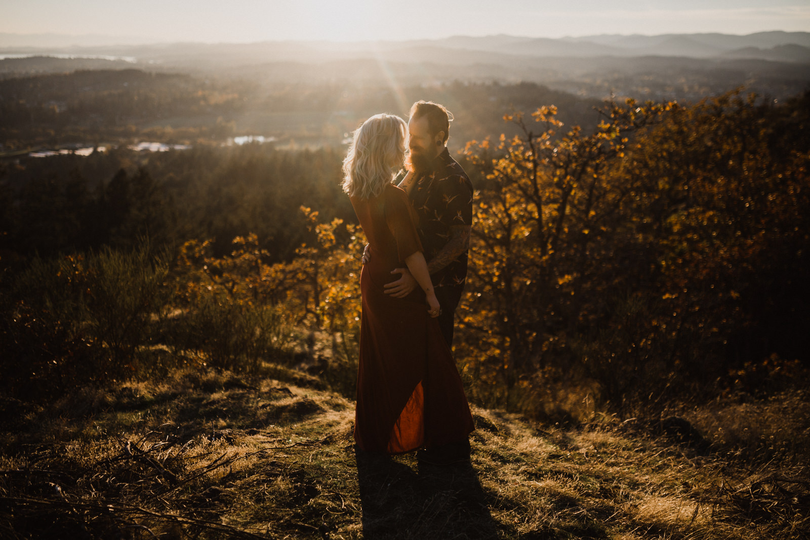 couple hugs on Mount Doug Victoria BC elopement photographer