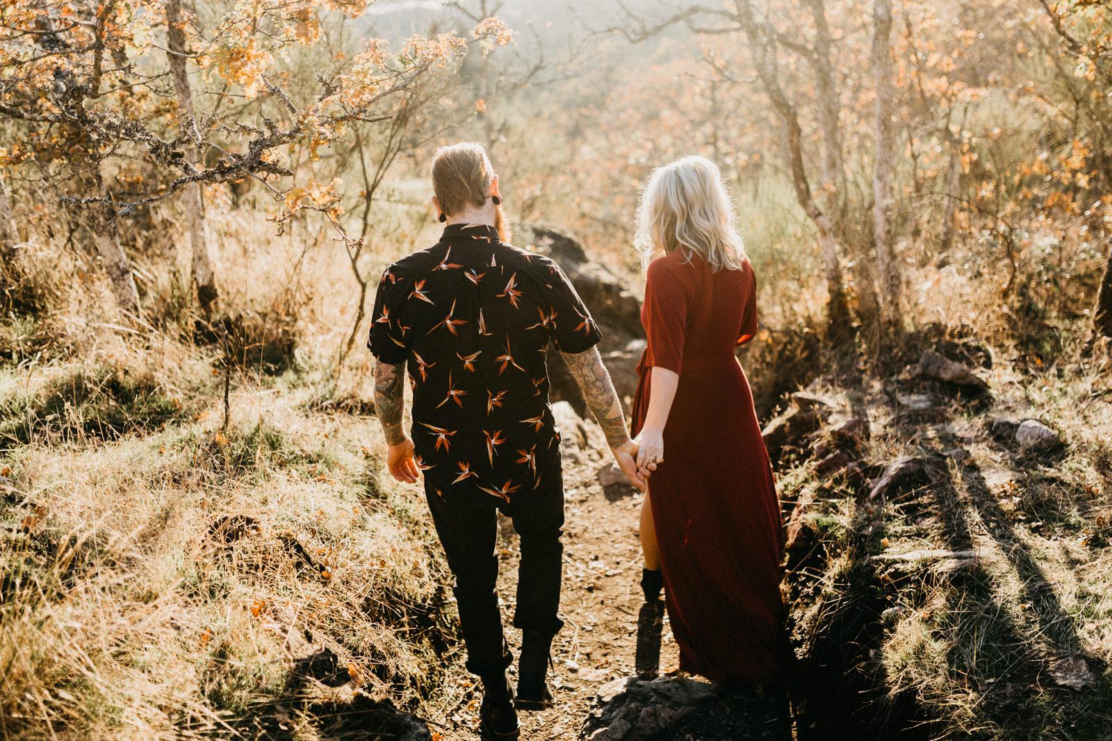 couple embracing on Mount Doug Victoria BC elopement photographer