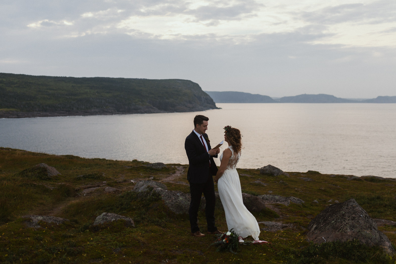 man says vows, cape spear newfoundland elopement photographer