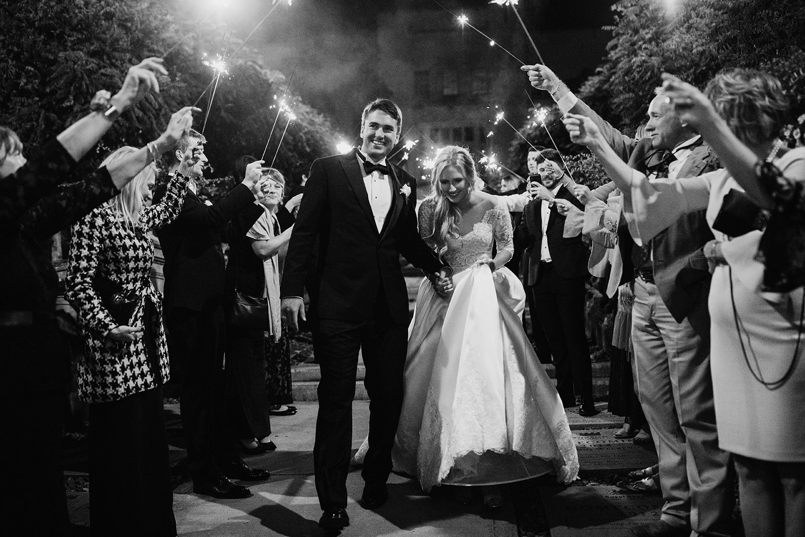 Hatley Castle Wedding photographer sparkler exit