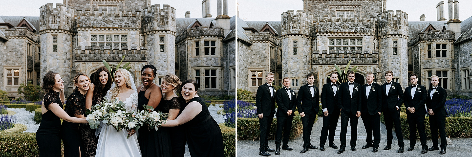Hatley Castle Wedding photographer bridesmaids and groomsmen X-Men