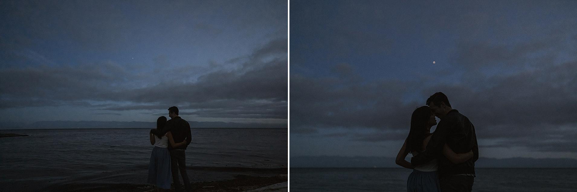 beach blue hour vancouver island engagement couple.jpg