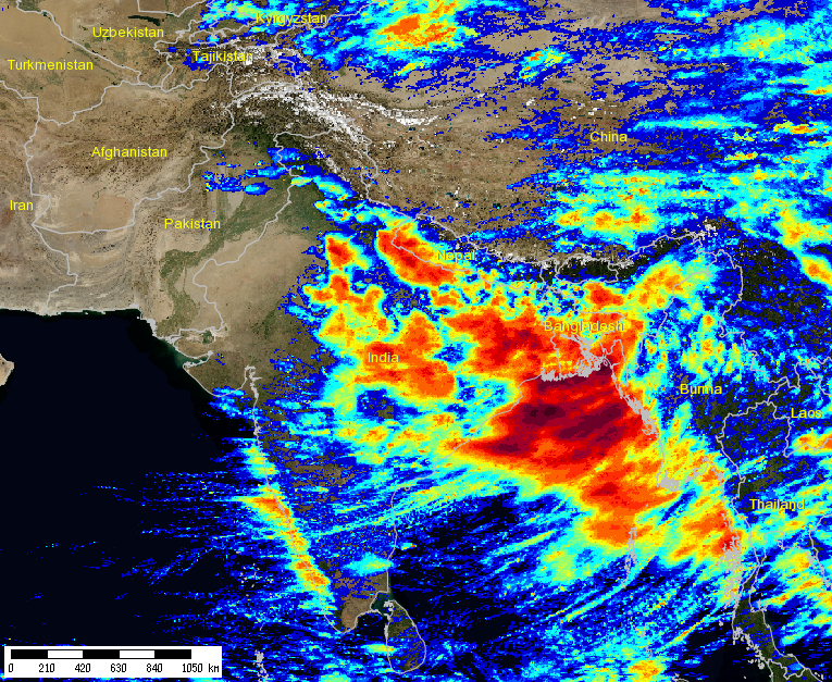 Real-time image of where monsoon rains have fallen in the past 72 hours.  Source:  http://hydis.eng.uci.edu/gwadi