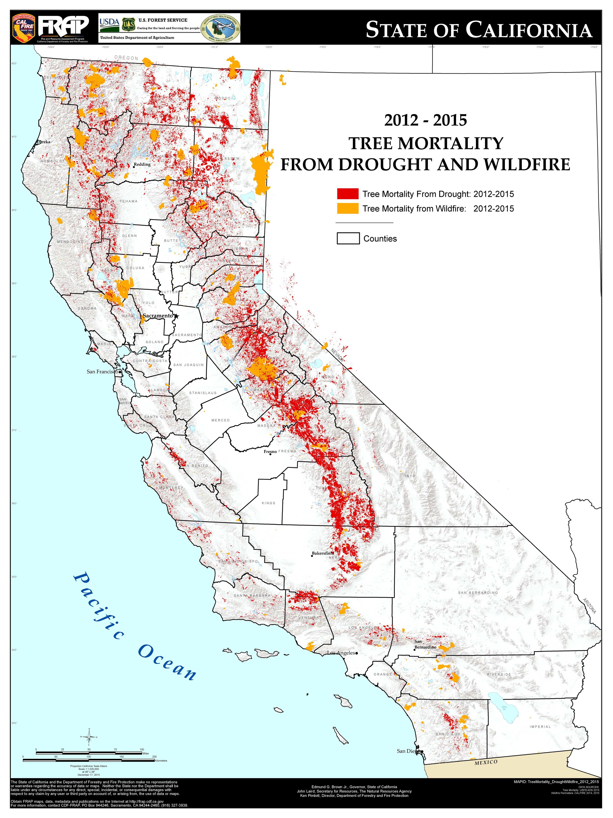Figure 2. Tree Mortality from Drought and Wildfire. Source: California's Tree Mortality Task Force ( http://www.fire.ca.gov/treetaskforce/ )