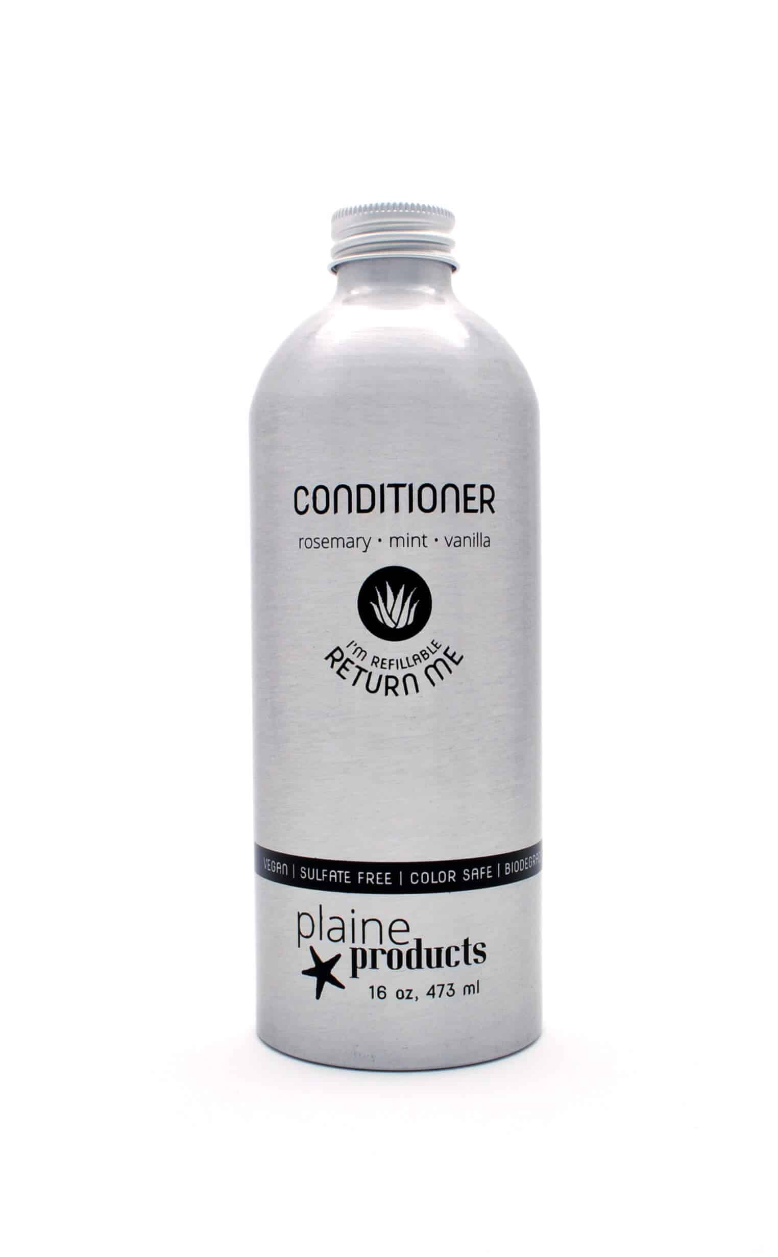 Conditioner.   Shop  Reusable and Refillable container. Make a one-time purchase and return to the shop when a refilled bottle is needed. Subscription program available.  Alternatively, you can  buy conditioner in bulk  and use a shower dispenser at home for daily use OR use a  conditioner bar.