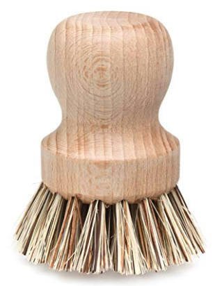 Dish Brush.   Shop   This  Redecker  natural fiber bristle brush is durable for cleaning pots and pans. It made out of untreated beechwood wood, which can be composted at the end of its life. Skip the sponge (mostly plastic-based) with these  cotton dish cloths .