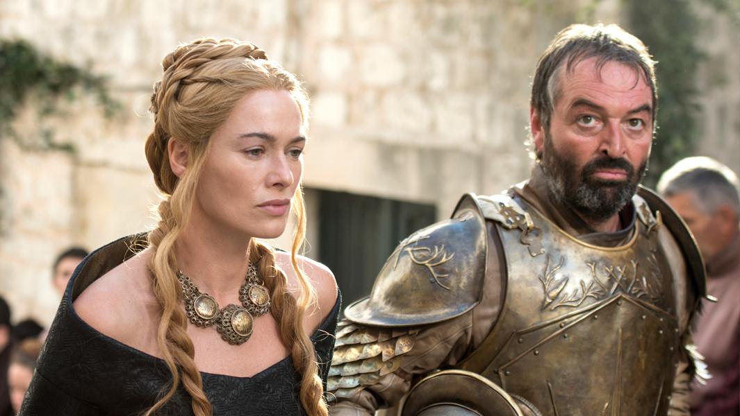 Lena Headey as Cersei Lannister and Ian Beatti eas Meryn Trant. Photo Credit: Macall B. Polay/HBO
