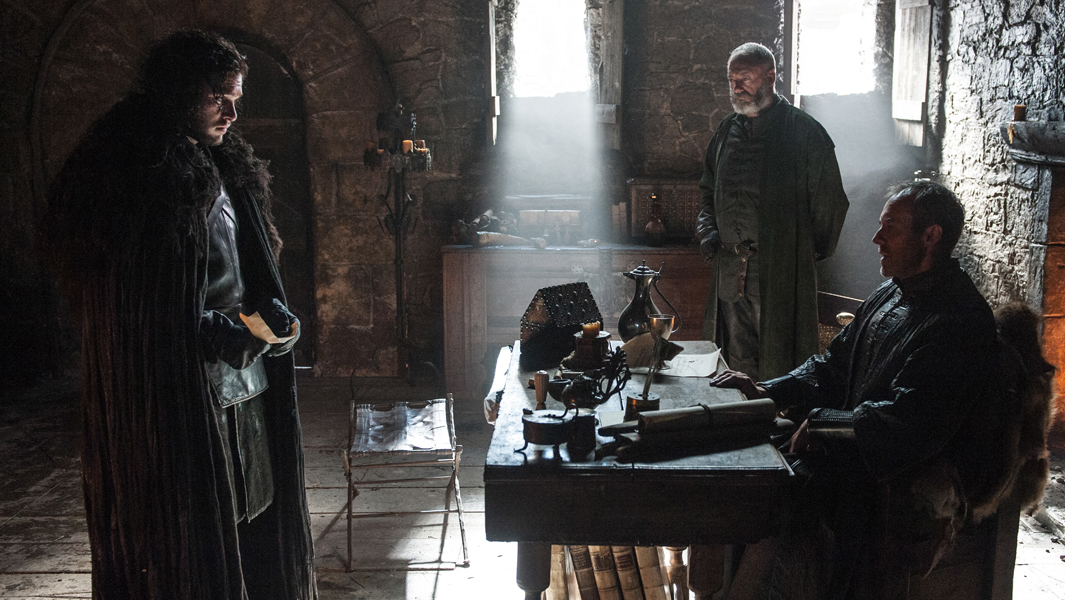Kit Harington  as Jon Snow,  Stephen Dillane  as Stannis Baratheon and Liam Cunningham as Davos Seaworth.  Photo Credit: Helen Sloan/HBO