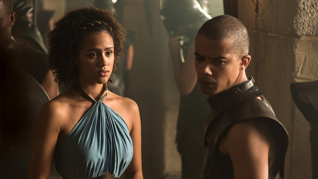 Nathalie Emmanuel as Missandei and Jacob Anderson as Grey Worm. Photo Credit: Helen Sloan/HBO