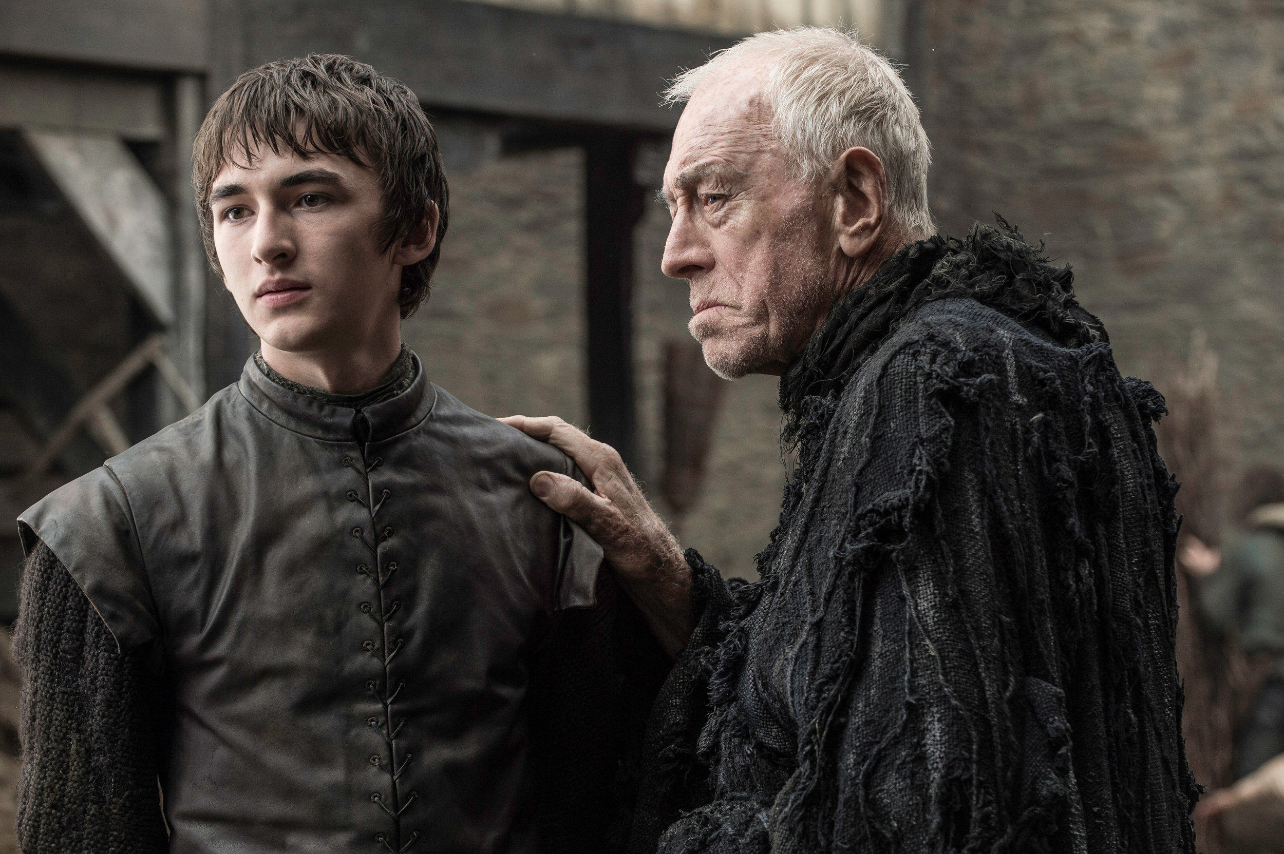 Isaac Hempstead-Wright as Bran Stark and Max von Sydow as the Three-Eyed Raven