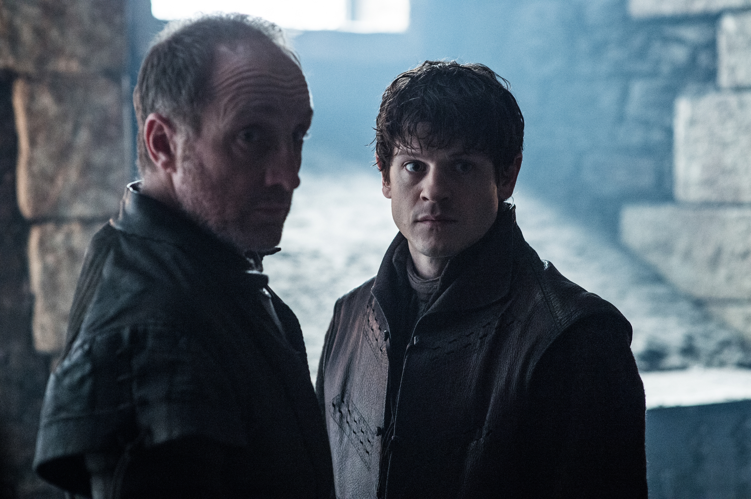 Michael McElhatton as Roose Bolton and Iwan Rheon as Ramsay Bolton