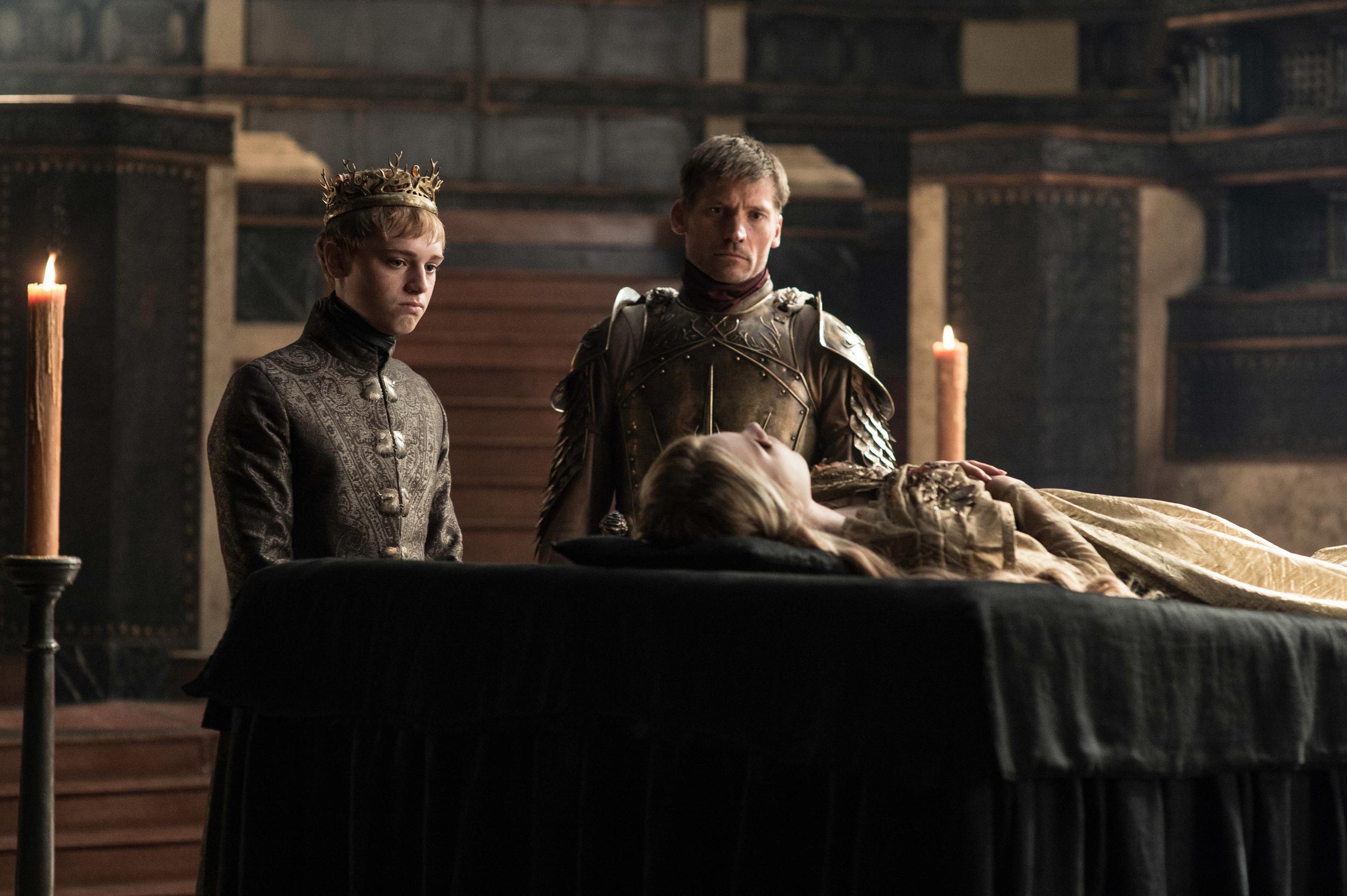 Dean-Charles Chapman as Tommen Baratheon and Nikolaj Coster-Waldau as Jaime Lannister