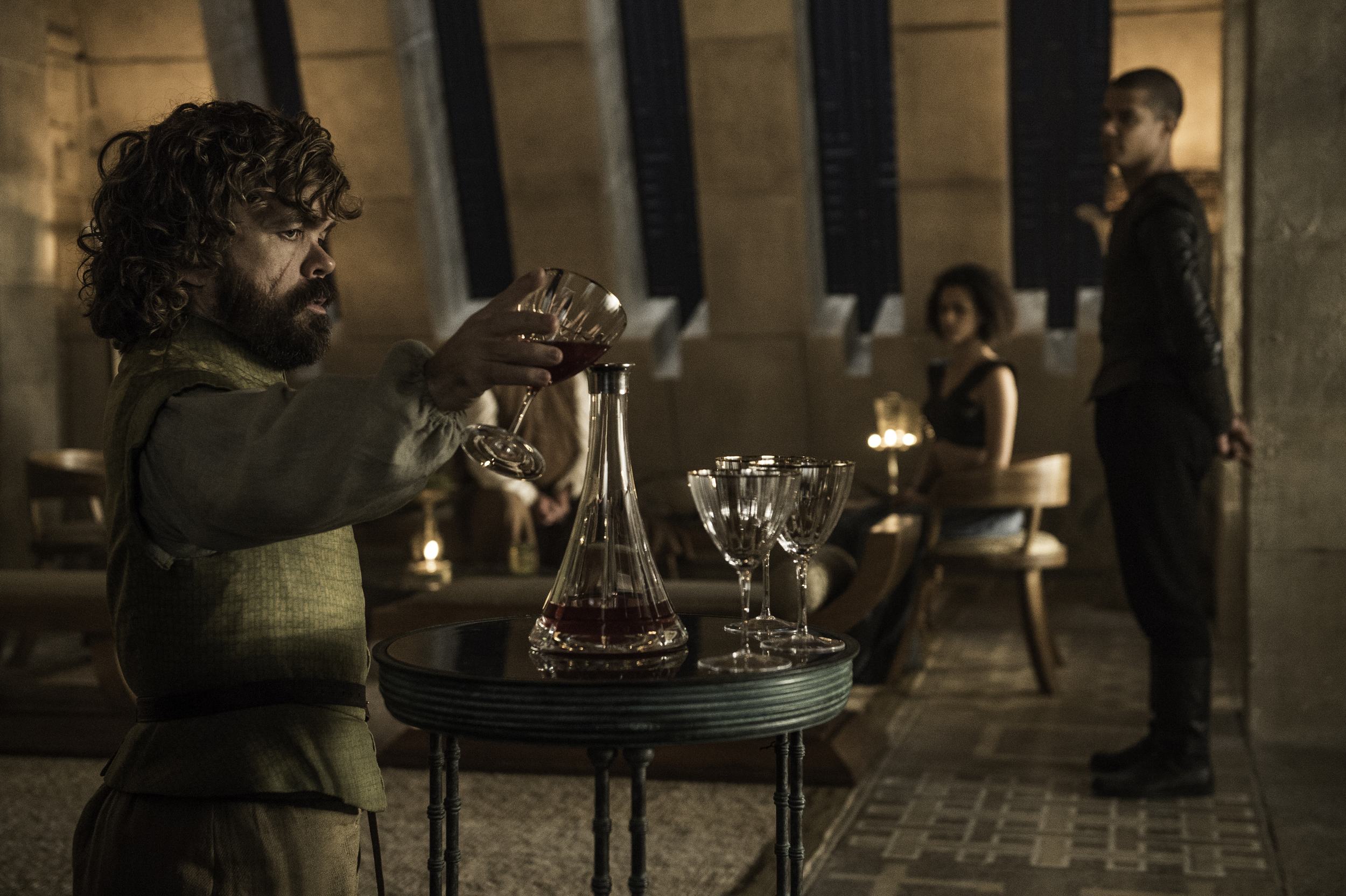 Peter Dinklage as Tyrion Lannister, Nathalie Emmanuel as Missandei and Jacob Anderson as Grey Worm