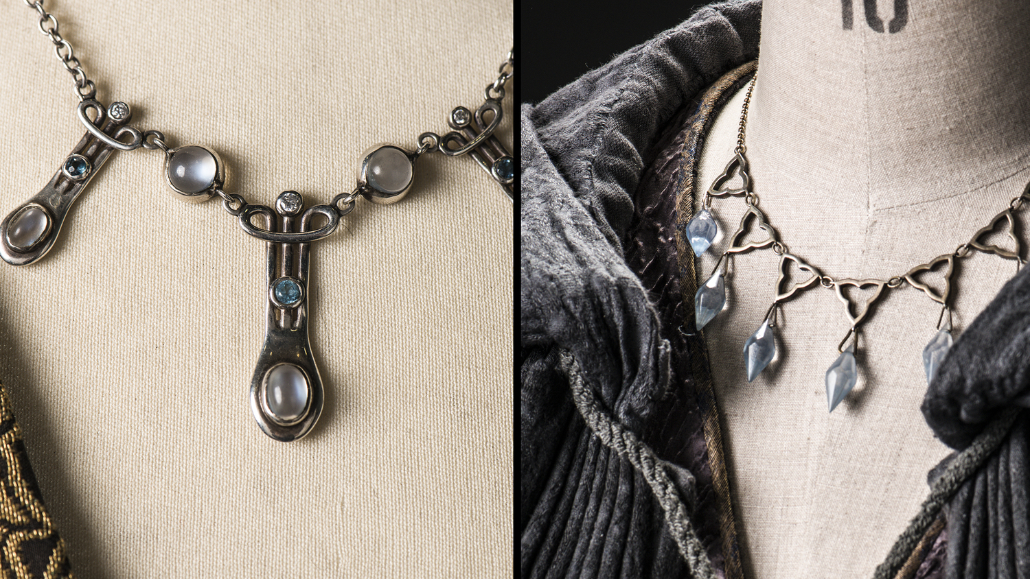 Margaery's necklace is on the left; Sansa's is on the right.