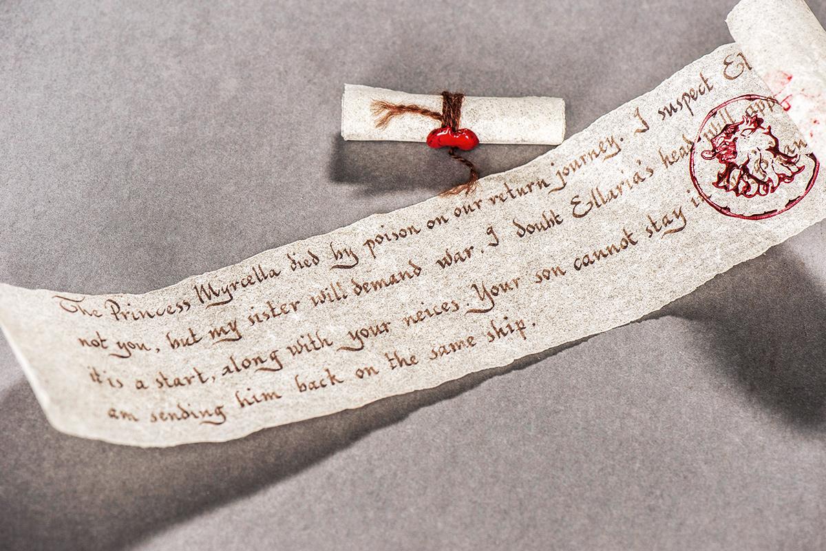 The letter Prince Doran receives, informing him of Myrcella's death.