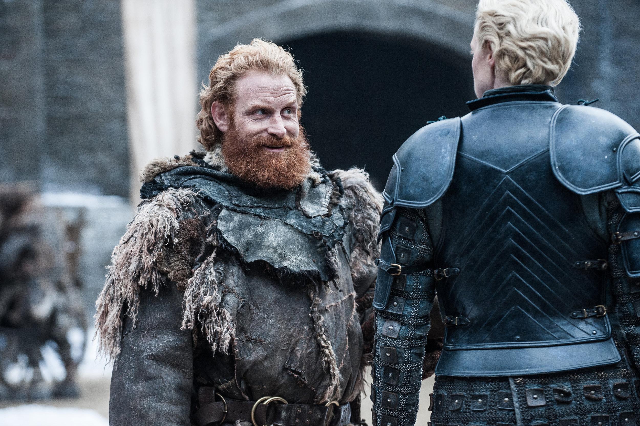 Kristofer Hivju as Tormund Giantsbane and  Gwendoline Christie as Brienne of Tarth - Photo: Helen Sloan/HBO