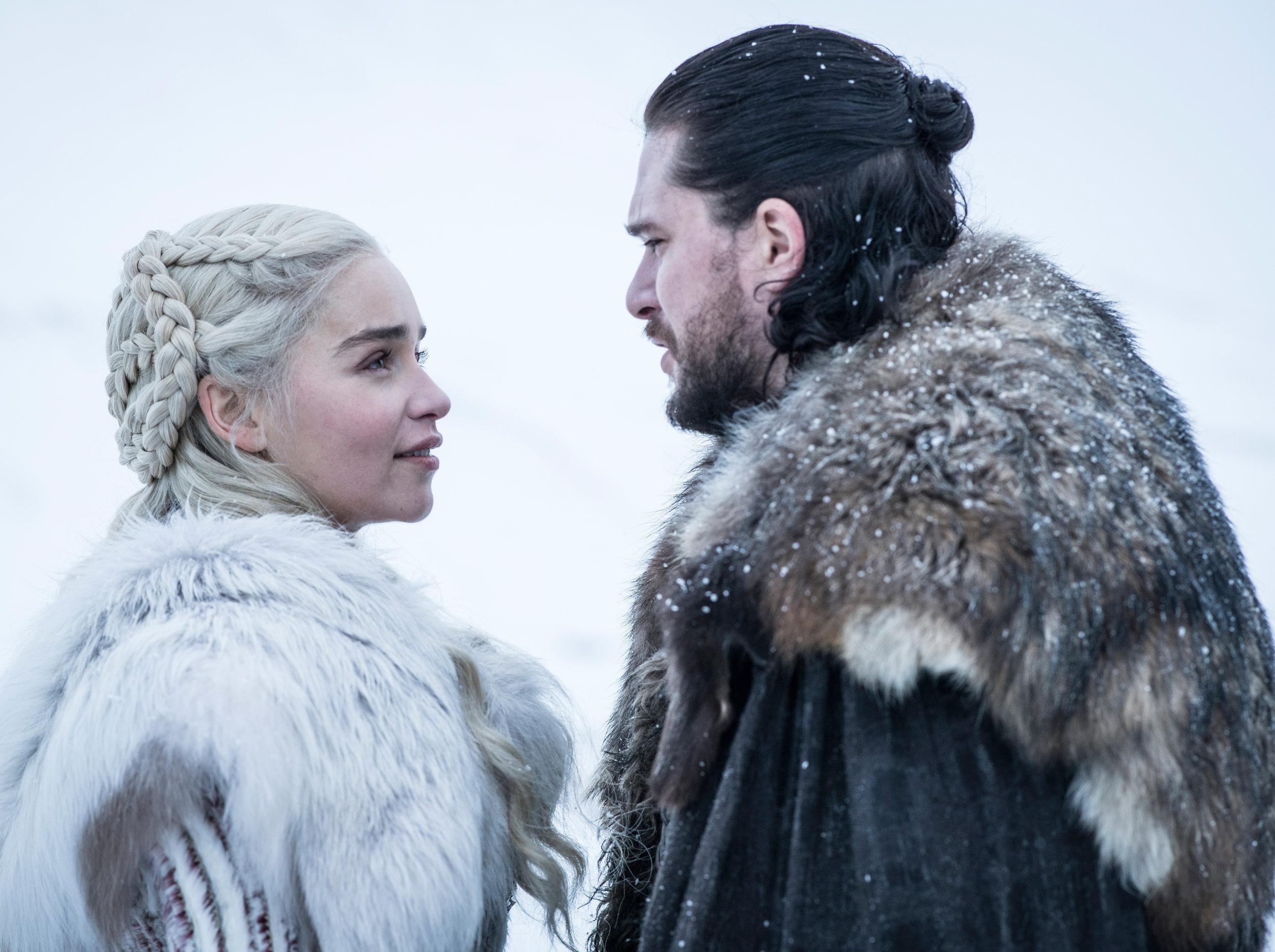Emilia Clarke as Daenerys Targaryen and Kit Harington as Jon Snow – Photo: Helen Sloan/HBO