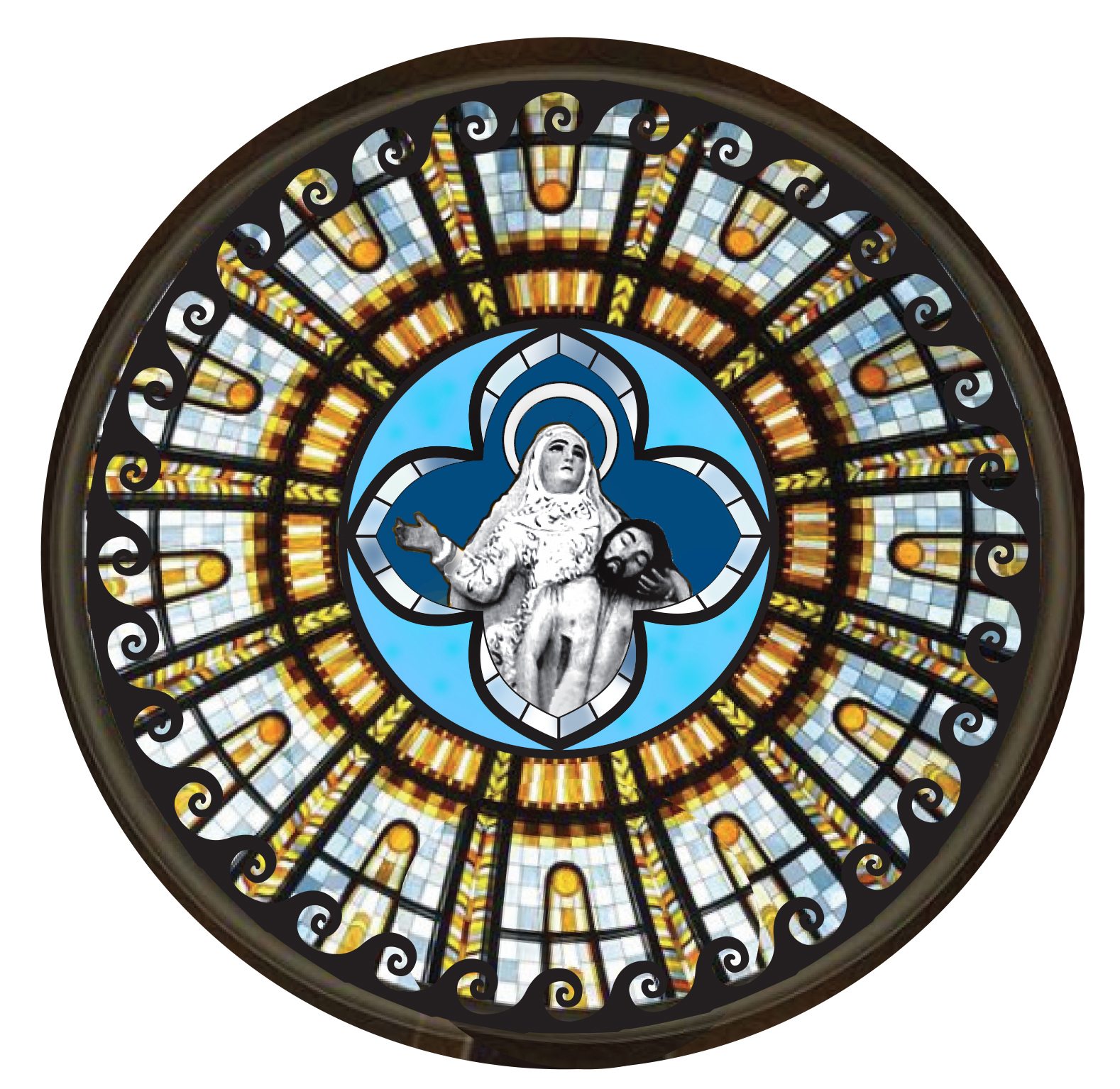 "AUGUST 2017: My approved digital design for ""Return of Nossa Senhora,"" a stained glass window for the Nossa Senhora da Piedade Church in Itaparica, Bahia, Brazil."