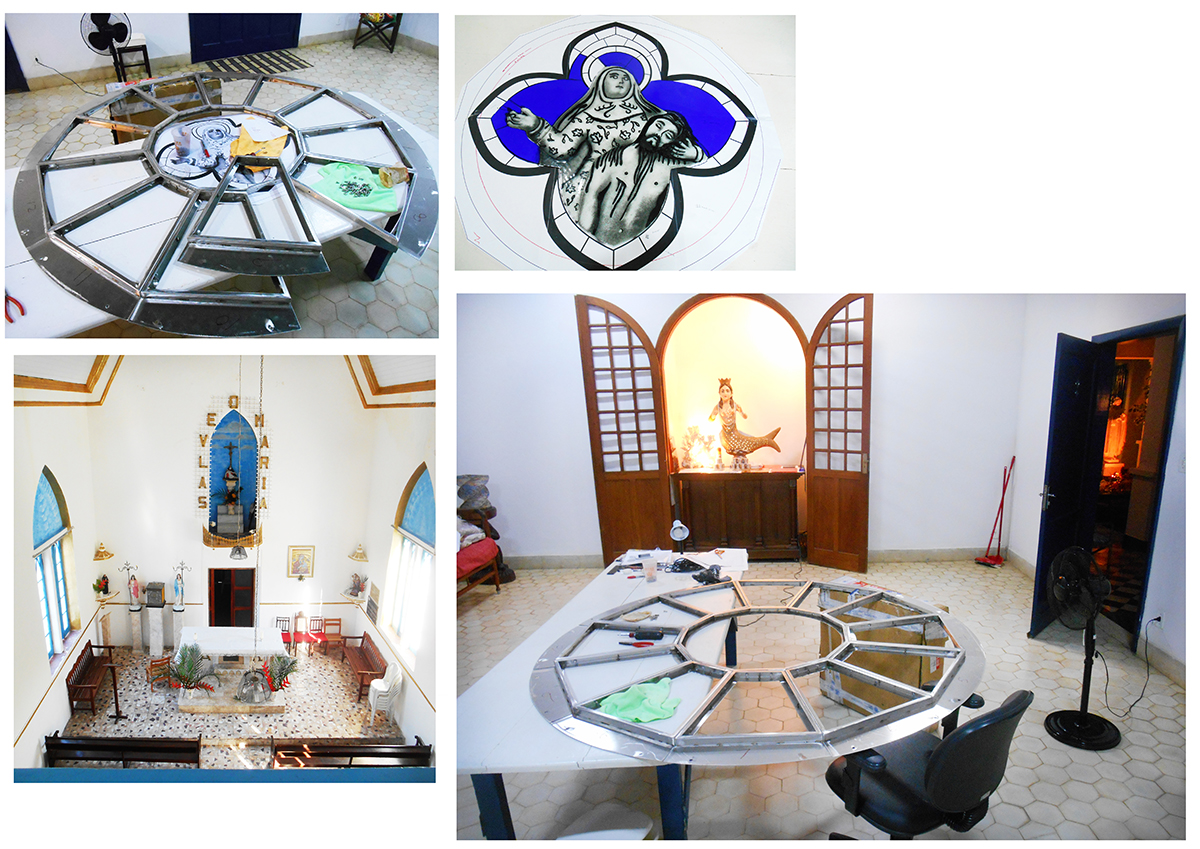 (Clockwise from top left) Rebuilding the frame, stained glass central image, my work space at the Sacatar Froundation, and the inside of the Nossa Senhora da Piede church.
