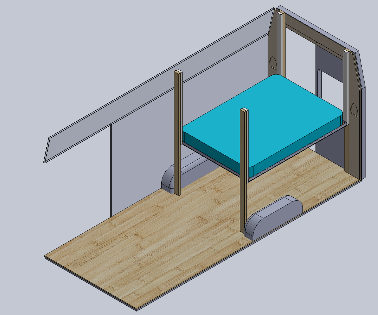 Adding the bed (back windows behind bench missing from this model)