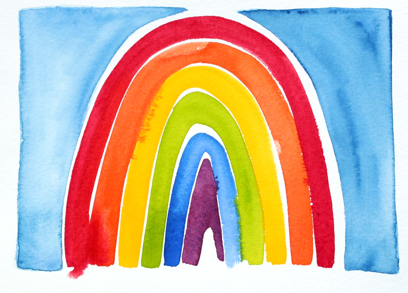 """Have you heard of the """"100 Days Project""""? After seeing my friends make 100 days of really great art, I decided to jump on it too. I'm going to spend 100 days exploring watercolors. Since early January, I've been learning thru daily experimentation and play...It is SO FUN!  This rainbow painting is part of my 100 Days Project.  View the collection online or check #beachcake100 on Instagram. (What would your 100 Days Project be? Hope you're inspired!)  I will continually add selected watercolors to my online shop at  beachcake.etsy.com . One of my goals this year is to fill my shop with more things: one of a kind ceramic totems and ring dishes, as well as ceramic magnets, cards and books. So check back every once in a while. You might find the perfect thing!"""