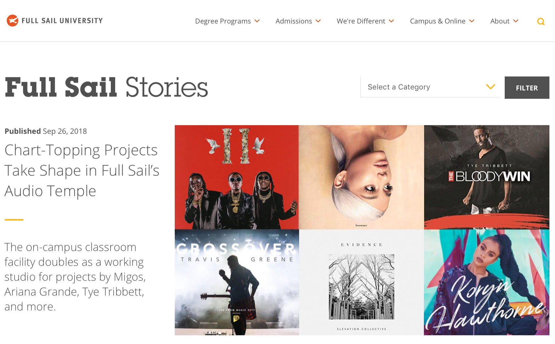 industry collaborations - Billboard #1 projects recorded at full sail university