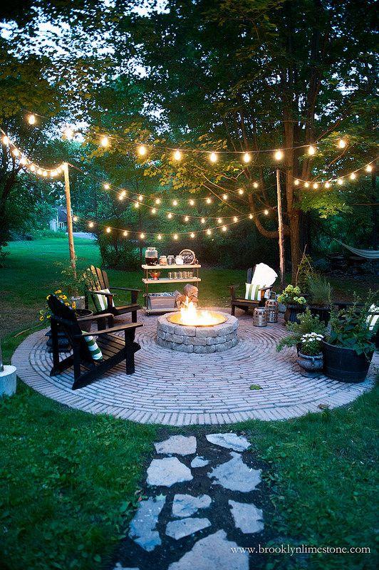 Bonfire with an outdoor bar cart