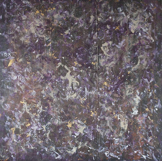 "PURPLE RAIN, 40"" X 40"" (RICH IN TEXTURE)"
