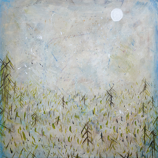 "SPRING SNOW IN THE MOONLIGHT, 40"" X 40"""