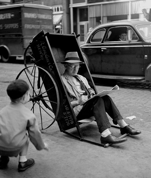 """Man in Pushcart""  New York, 1944  Estate of Fred Stein"