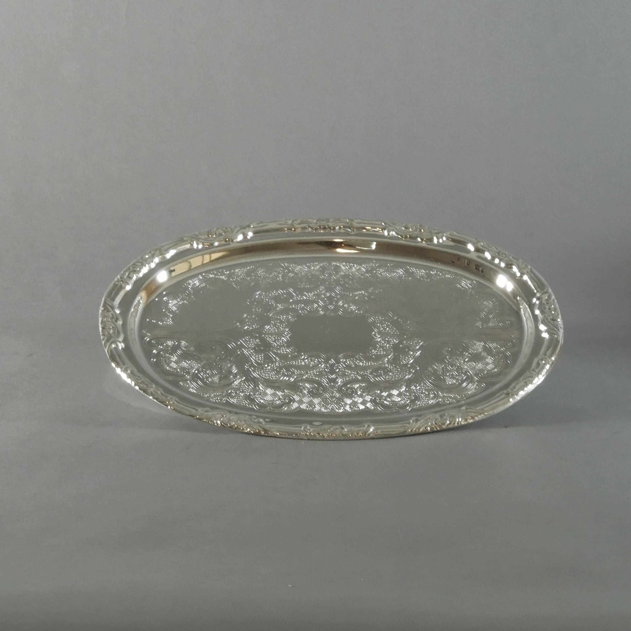 "Silverplate Oval Tray (9""x7"")"