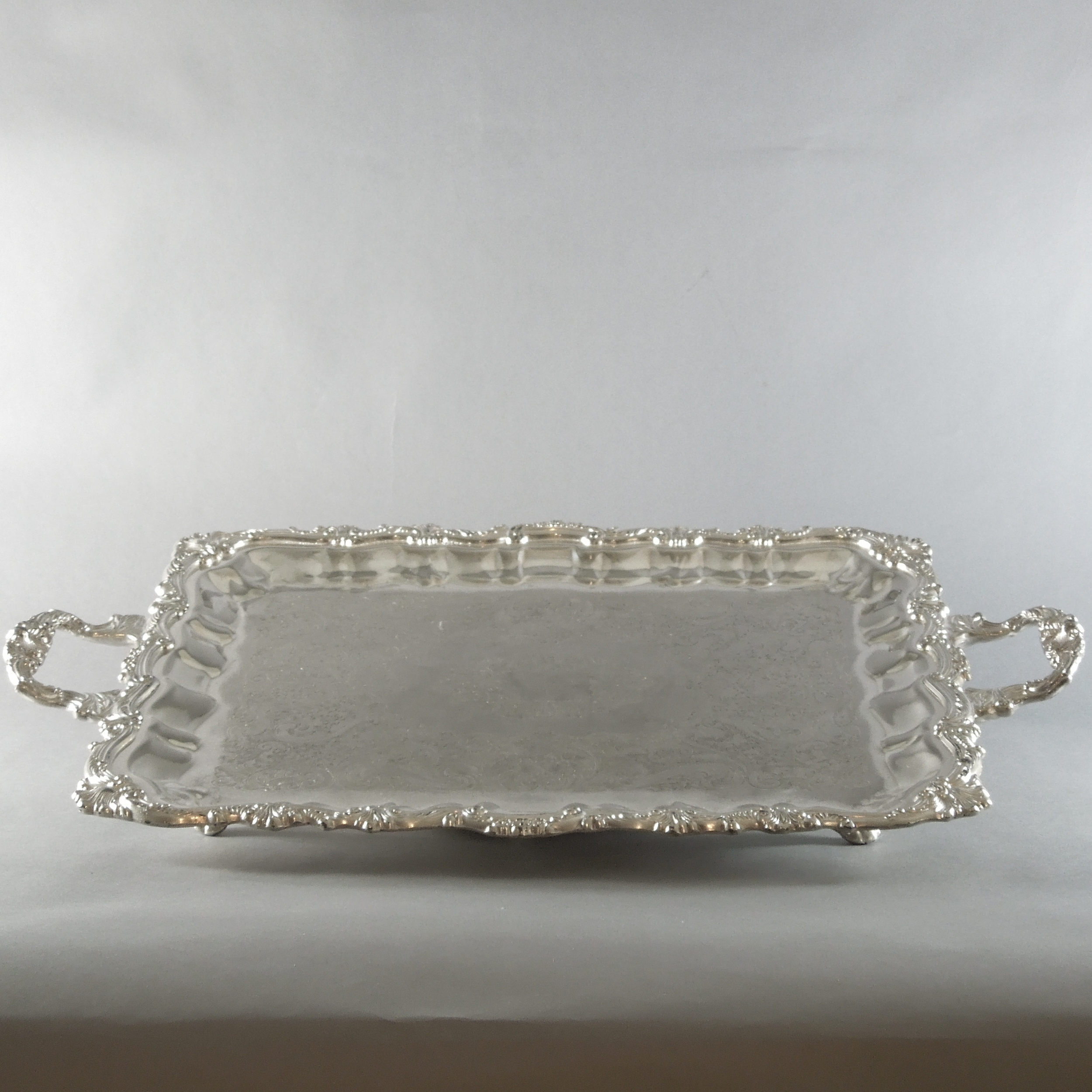 Silver Plated Footed Tray 20''x16'')(
