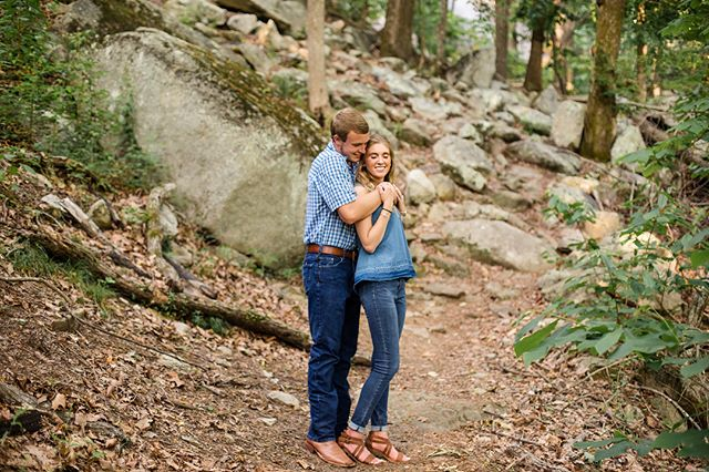 Sharing a few more from this adorable couple's session, I had never utilized these rocks at our local state park, but I am so glad that I gave it a shot! #engaged #engagementphotos #engagementphotography #couples #couplessession #natashalynnphotography #wilkescountyphotographer #highcountryphotographer #outdoorphotography #canon #shootandshare #younglove #theportraitcollective #portraitphotography #portrait_perfection #couplegoals #elkinphotographer #risingtidesociety
