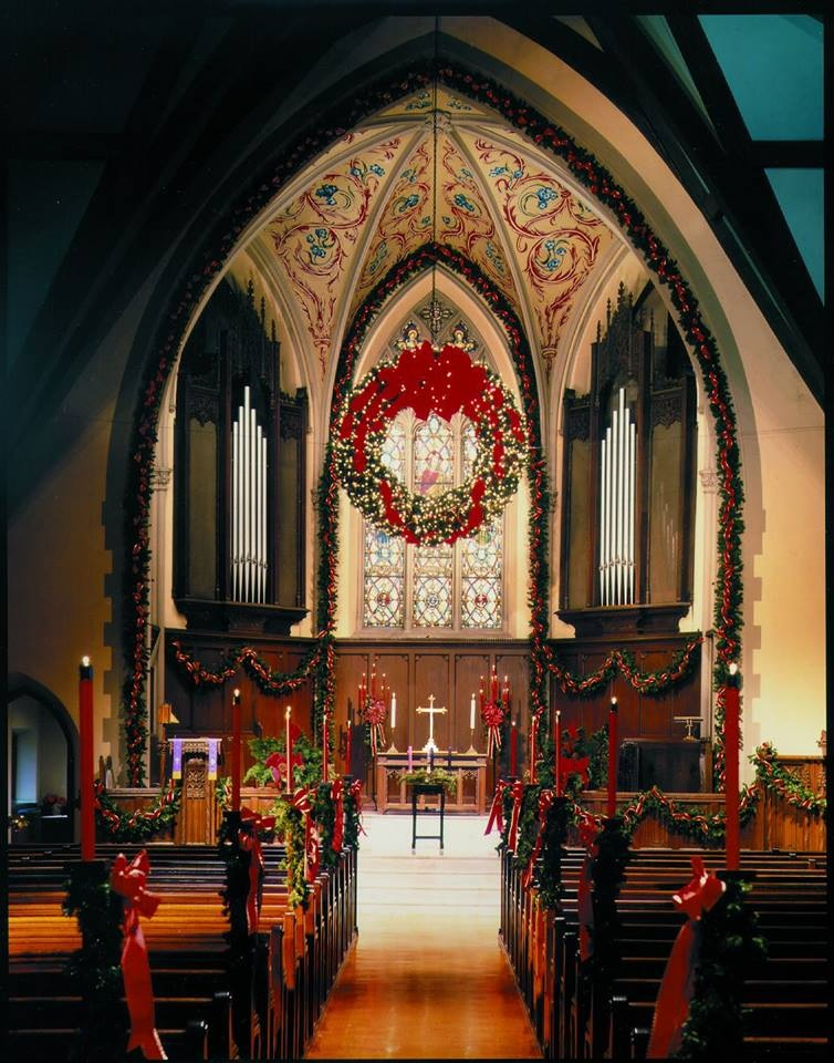 First Presbyterian Church decorated for the Christmas Season