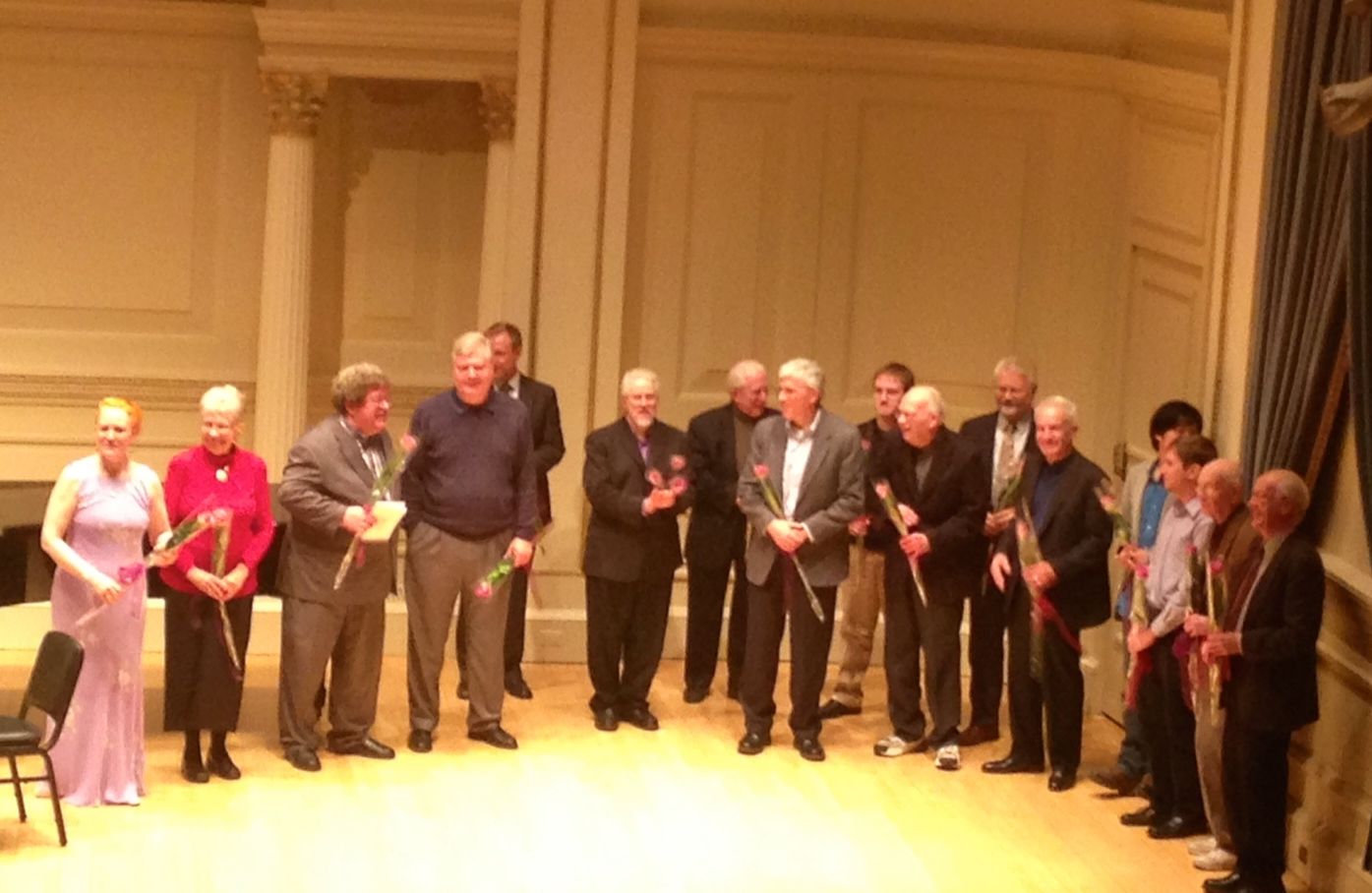 "PV with 13 of the 16 composers featured on Ron Levy's ""In Celebration of the Composer"" - 11-29-13   (l-r) Margaret, Nancy Bloomer Deussen, Eric Ewazen, Joseph Turrin, Don Mokrynski, Ron Levy, David Gilbert, Patrick Finley, Michael D. Parsons, Godfrey Schroth, David Sampson, Dennis LeoGrande, Sunbin Kim, Ben Hackett, Fred Messner, John Lampkin"