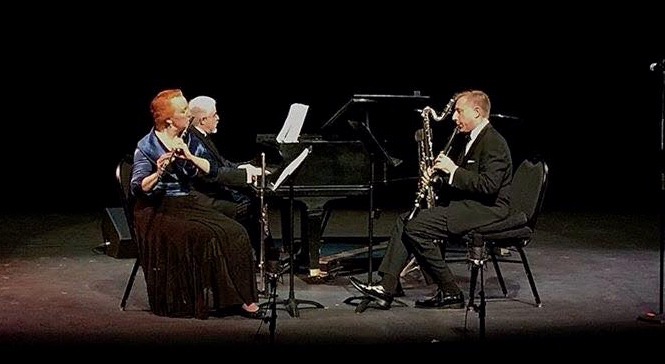 """Onstage during the premiere of Adrienne Albert's """"Dog Tales"""" at Bergen Community College."""