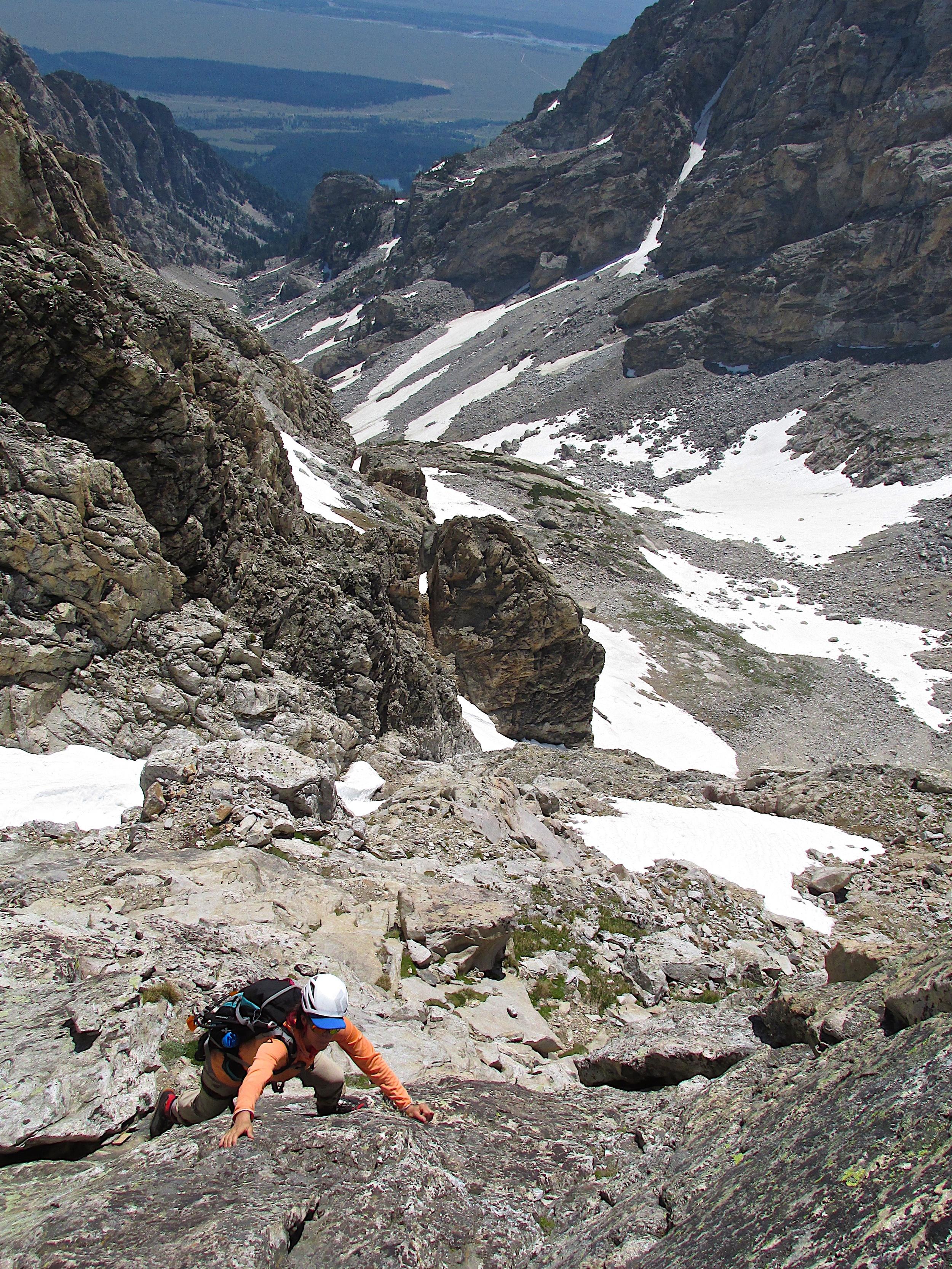 Marilynn low on the C Ridge.