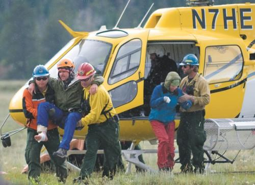 Matt Walker gets lifted to medical safety after being struck by lightning on the Grand Teton, on July 21, 2010. Photo: Bradly J. Boner/Jackson Hole Daily