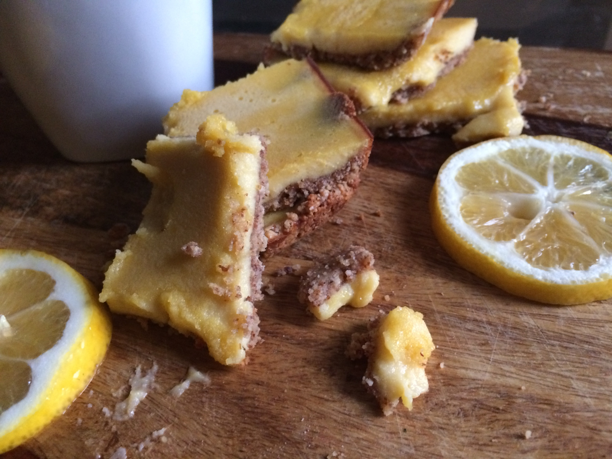 This photo of my  Paleo Lemon Bars  was taken with the iPhone about 3 inches away from the bars themselves.