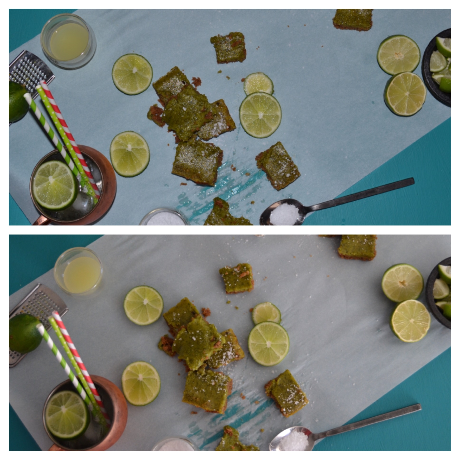 Again, these  Salted Tequila Lime Bars  were taken with my fancy camera. But again, notice the difference between this photo with artificial light (above) and natural lighting (below). Makes all the difference!