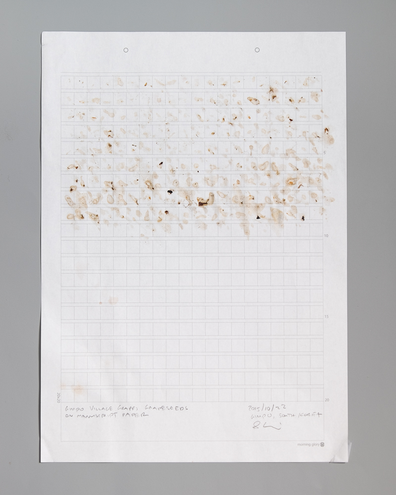 (VIDEO WORKS: Dumb Durational Piece) Grape Seed Grid Leftovers  , 2015, South Korea   Remnants of saliva and grape seeds on manuscript graph paper, 2015, 21 cm x 29.5 cm // 8.25 in x 11.75 in