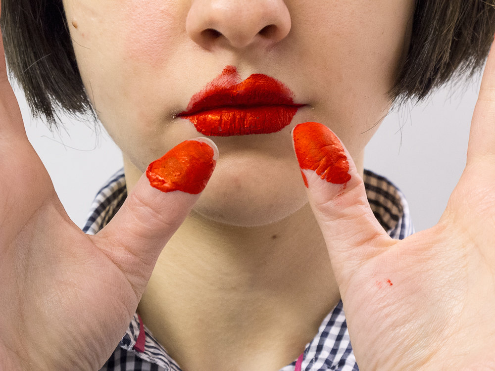 Painting Lips (Double Thumb), 2014   Pigment print on matte cotton rag paper, 16 x 12 inches, edition of 3
