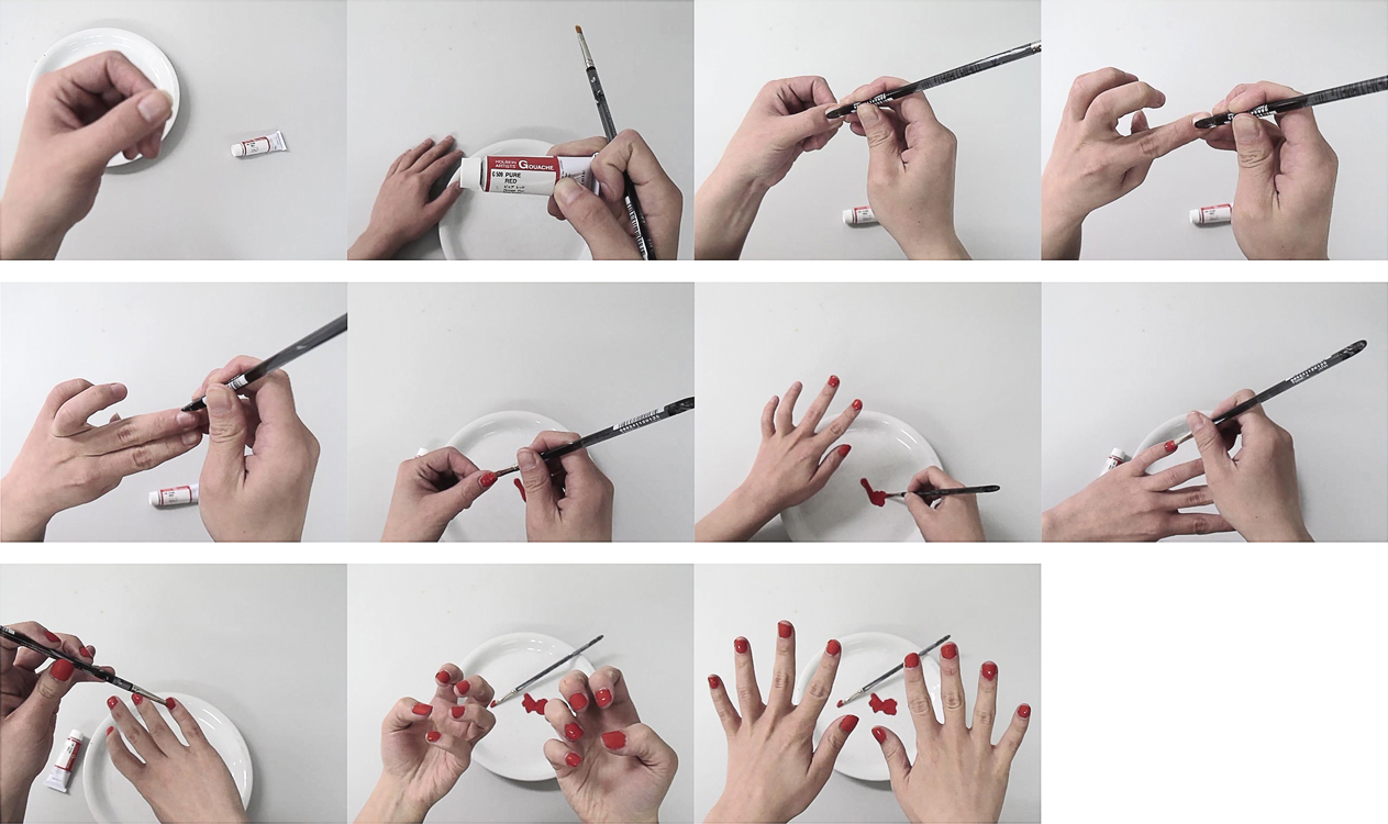 Painting Nails (Video Stills), 2014   Pigment print on matte cotton rag paper, 13 x 19 inches, edition of 3