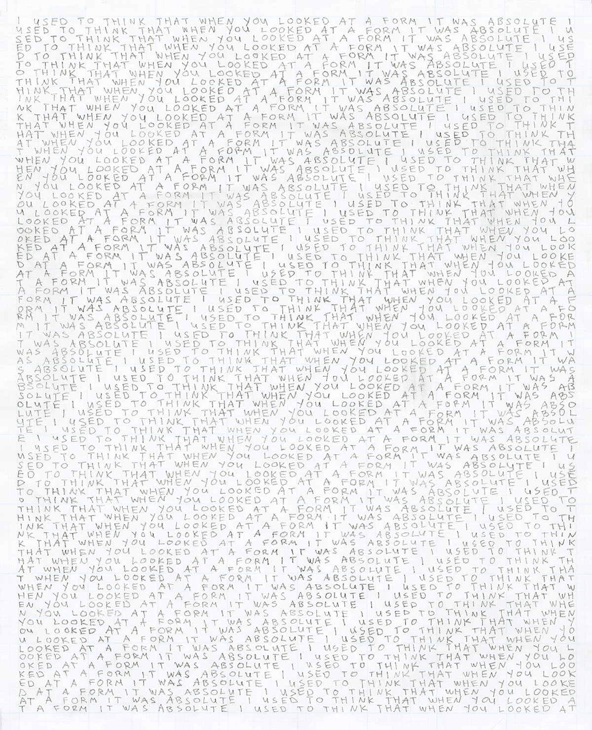 Form/Letterform 1/10 (2013)  Pencil over opaque white ink on graph paper, 8 in. x 10 in./20.3 cm x 25.4cm