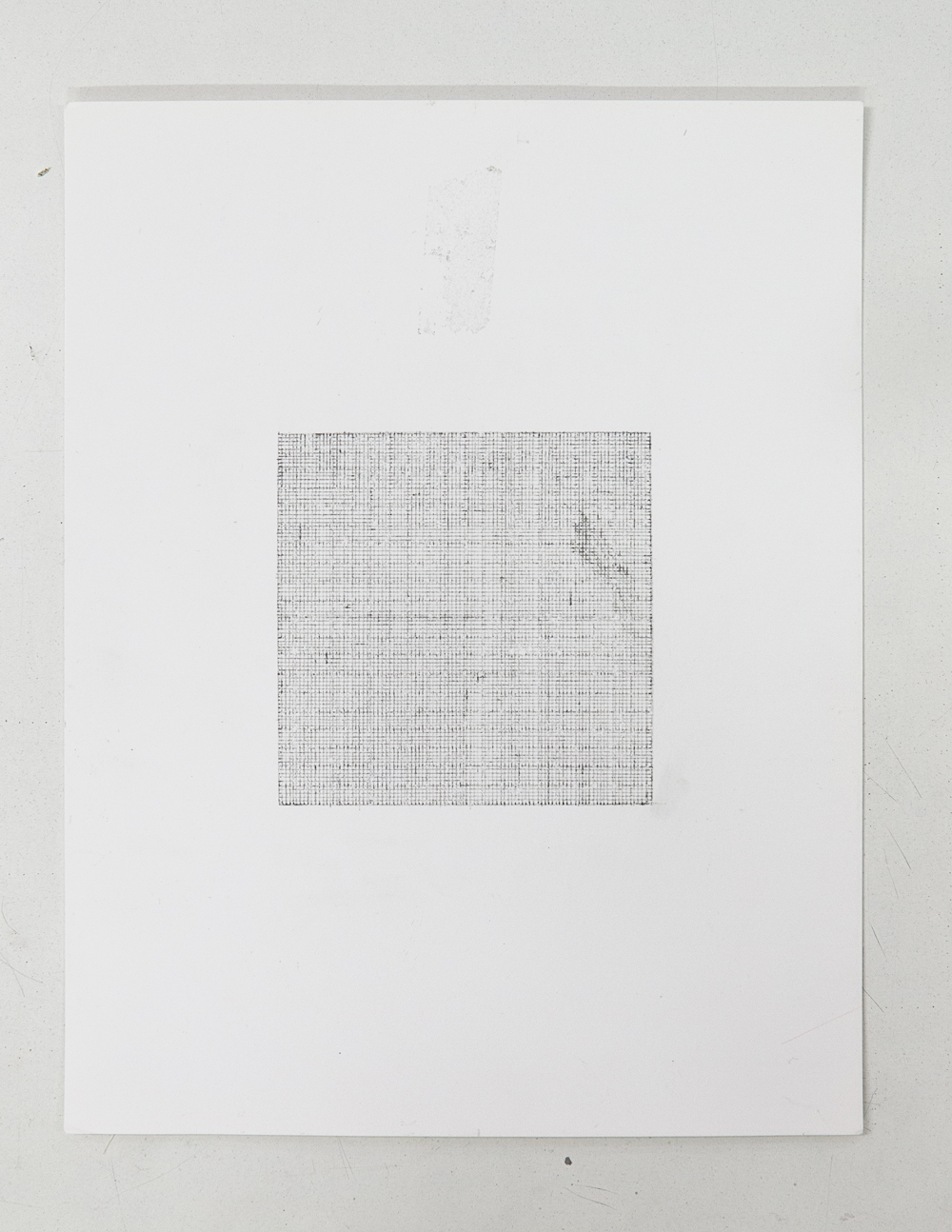 (PRISONTIME/PRISONINME: Transition to Metric) 1mm x 1mm on 10cm x 10cm,  2014   Pencil on semi-matte inkjet fiber paper, 8.5 in.x 11 in.