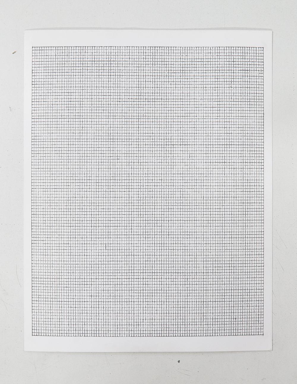 (PRISONTIME/PRISONINME: Transition to Metric) 2mm x 2.5mm on 20cm x 25cm,  2014   Pencil on semi-matte inkjet fiber paper, 8.5 in.x 11 in.