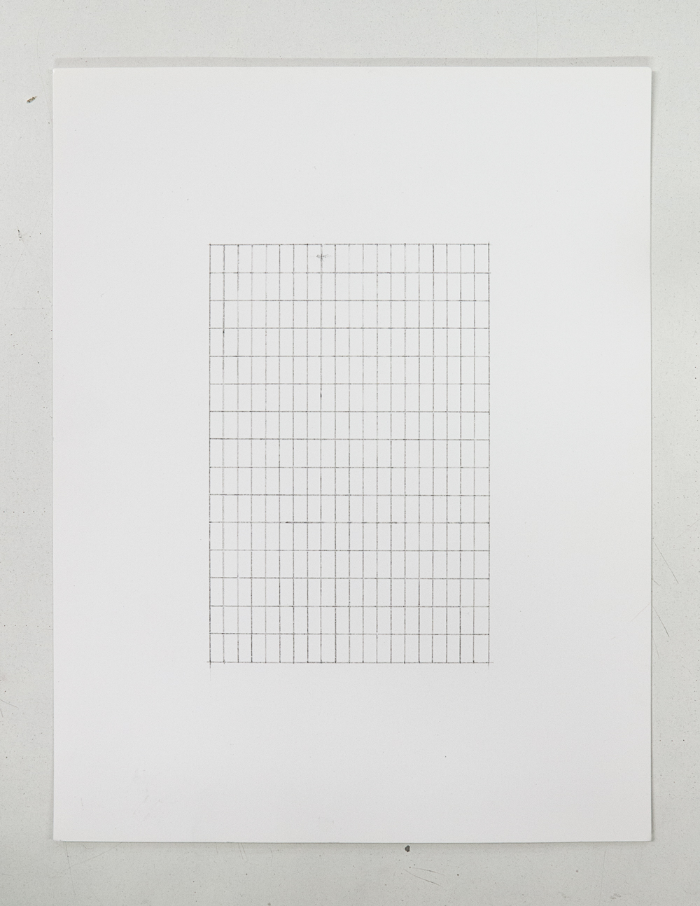 (PRISONTIME/PRISONINME: Transition to Metric)   5mm x 10mm on 10cm x 15cm  ,2014   Pencil on semi-matte inkjet fiber paper, 8.5 in.x 11 in.