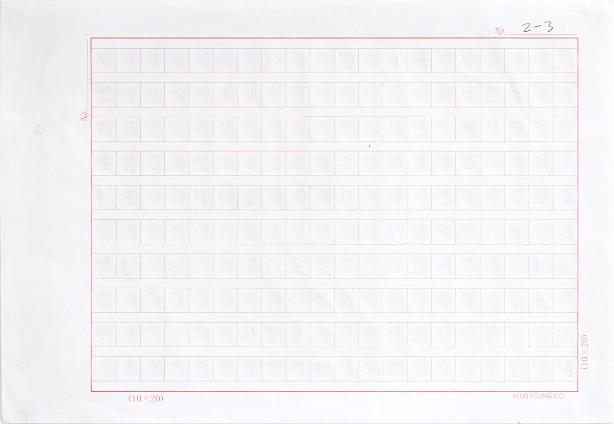 Language Palimpsest 2015-2017 No. 2-3  Erased graphite on manuscript graph paper, 25 cm x 17.5 cm