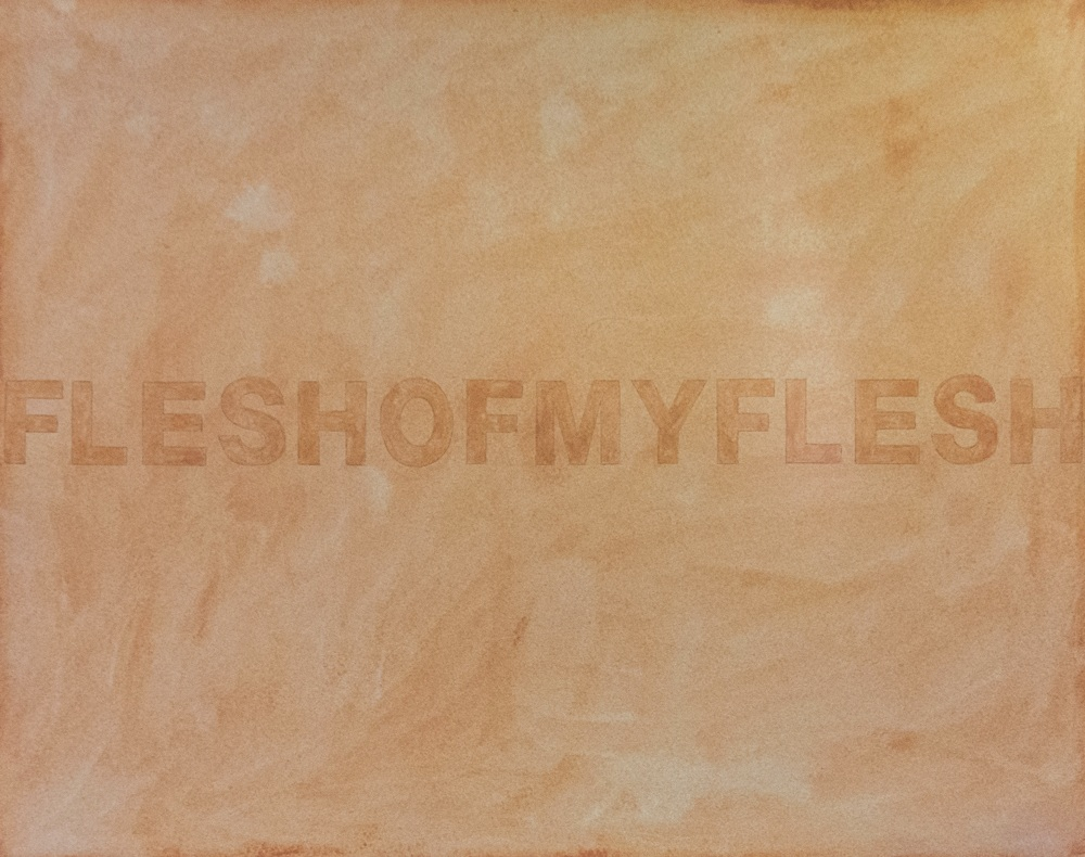 domestexts: FLESHOFMYFLESH No. 23 True Beige, 2019, South Korea  Cosmetic pressed powder, gum arabic and pencil on fiber paper 40 cm x 30 cm