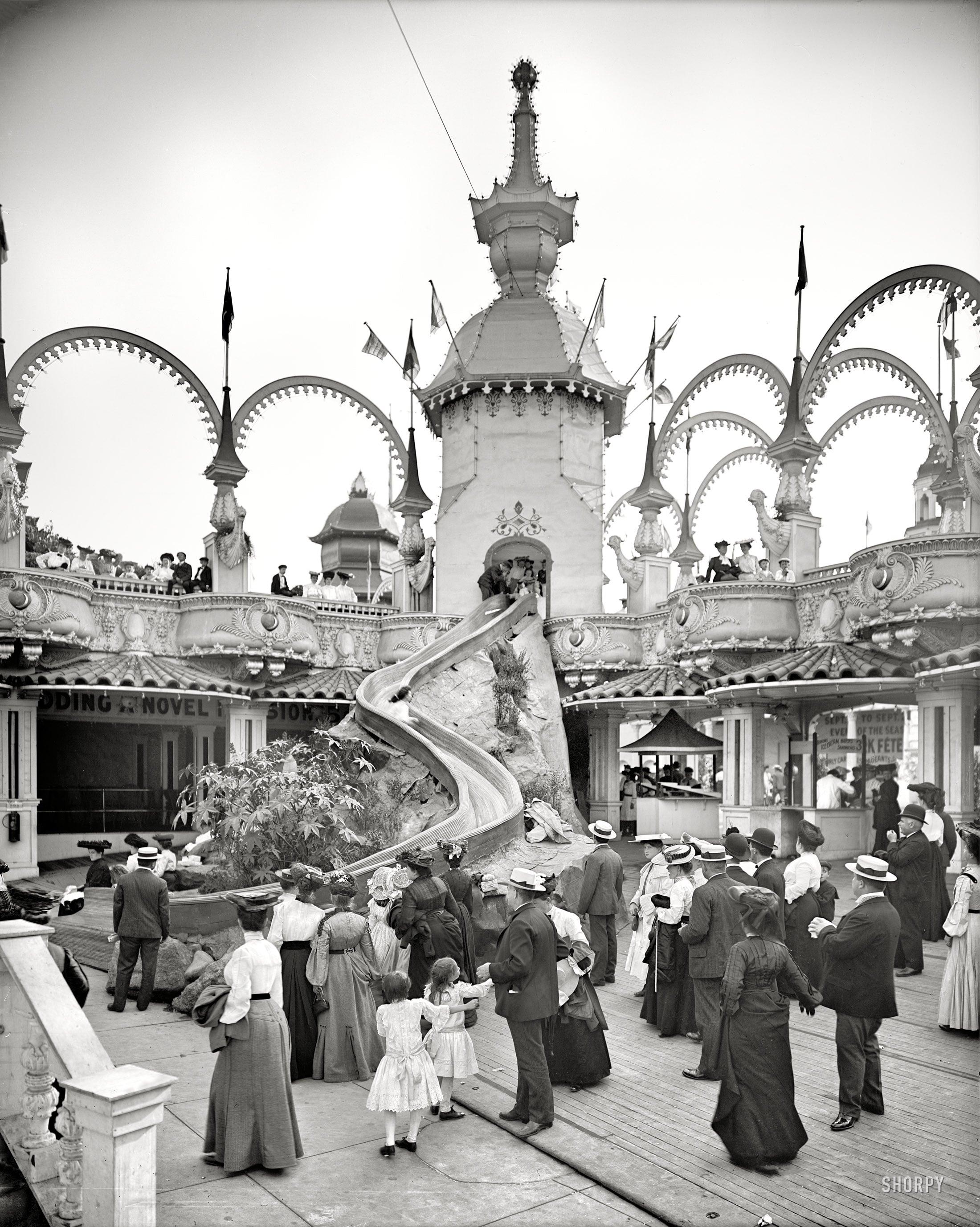 The Helter Skelter ride at Luna Park, Coney Island. 1905. (h/t,  Shorpy )